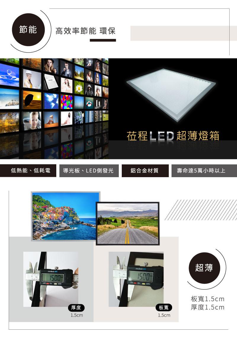 LED薄型鋁框燈箱簡介-厚度-版寬