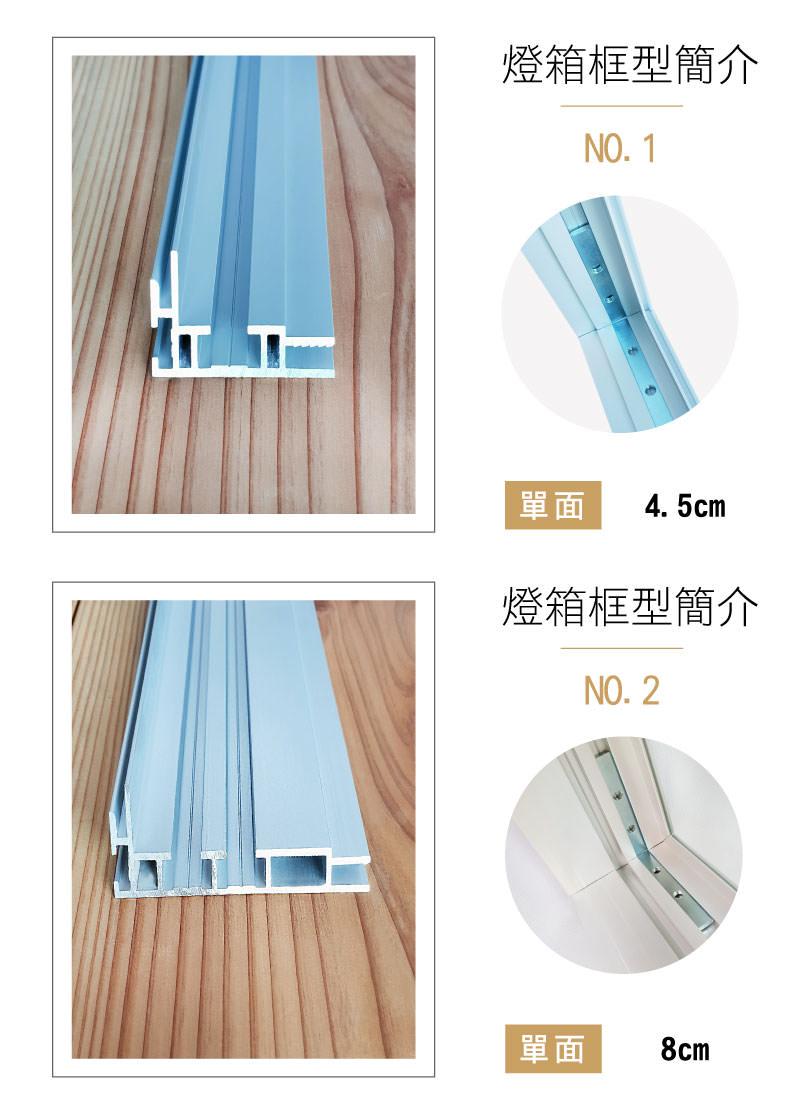 LED布幔燈箱-卡布燈箱-無邊框燈箱-4.5cm-8cm鋁型材介紹