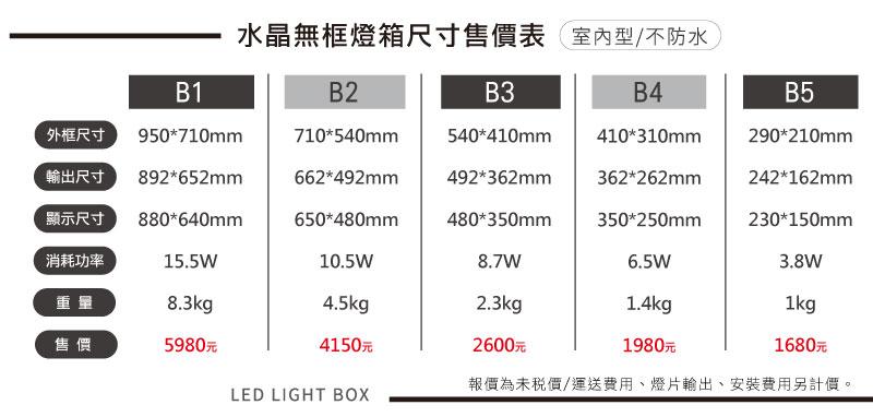 LED水晶無框燈箱系列-尺寸售價表